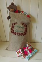 Personalized Welsh Large Father Christmas Xmas Santa Sack / Stocking Bag Jute Hessian